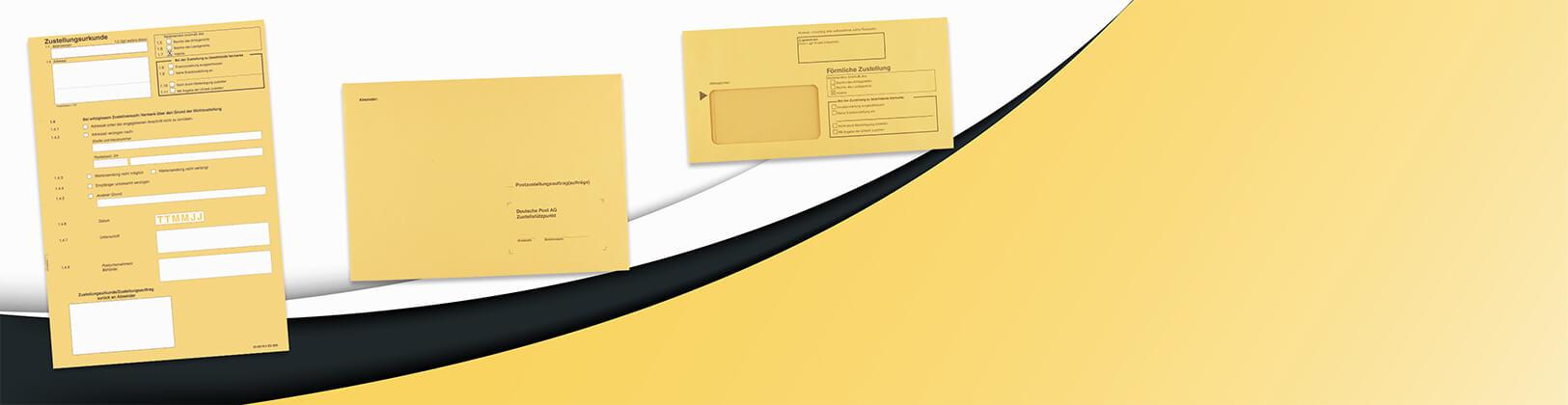 Urkunden und Umschläge für den Postzustellungsauftrag