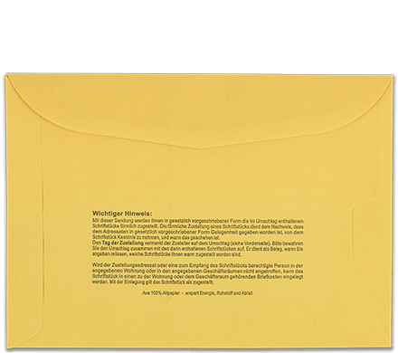 Postzustellungsumschlag C5 Rückseite geschlossen