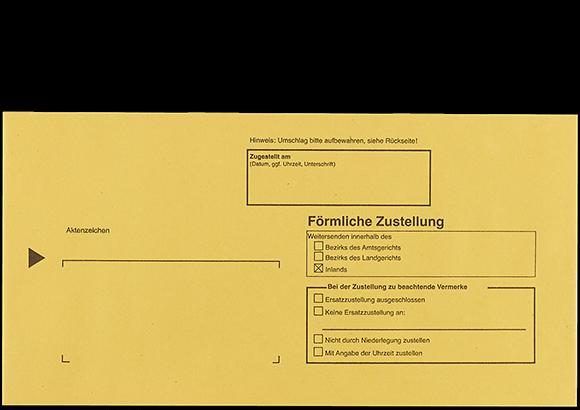Postzustellungsumschlag 114x226 mm Vorderseite