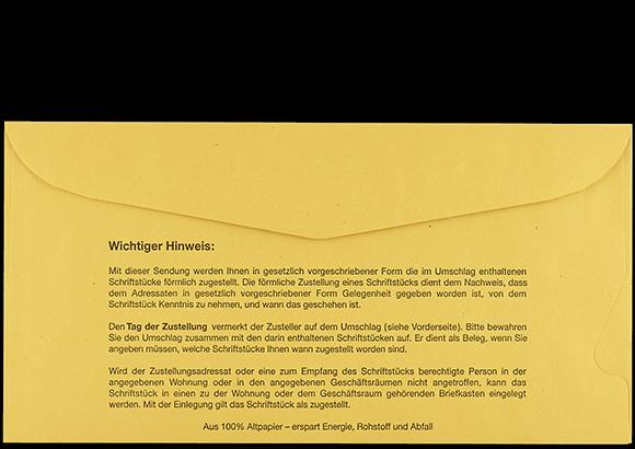 Postzustellungsumschlag mit Fenster 114x226 mm Rückseite geschlossen