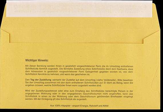Postzustellungsumschlag DL mit Fenster Rückseite offen
