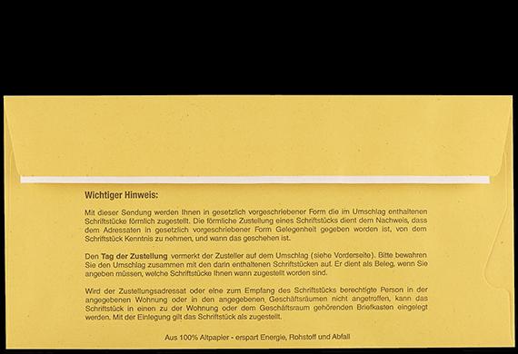 Postzustellungsumschlag DL mit Fenster Rückseite geschlossen