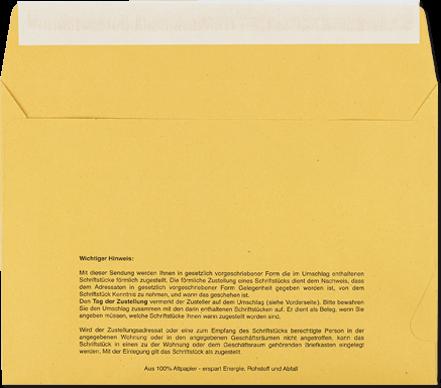 Zustellungsumschlag mit Haftklebung C5, Rückseite offen