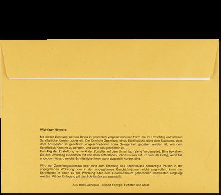 Postzustellungsumschlag mit Haftklebung C5, Rückseite geschlossen